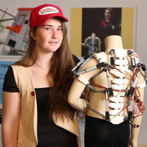 EDITORIAL USE ONLY Krystyna Marshall, one of the winners of the 'If you were an Engineer, what would you do' competition with a prototype of her invention, Spinal Muscular Atrophy jacket, at Gatwick Airport, South Terminal. PRESS ASSOCIATION Photo. Picture date: Tuesday August 13, 2019. The competition run by Primary Engineer alongside national partners Gatwick, Facebook and Network Rail and is aimed at inspiring the next generation of engineers. Photo credit should read: Matt Alexander/PA Wire